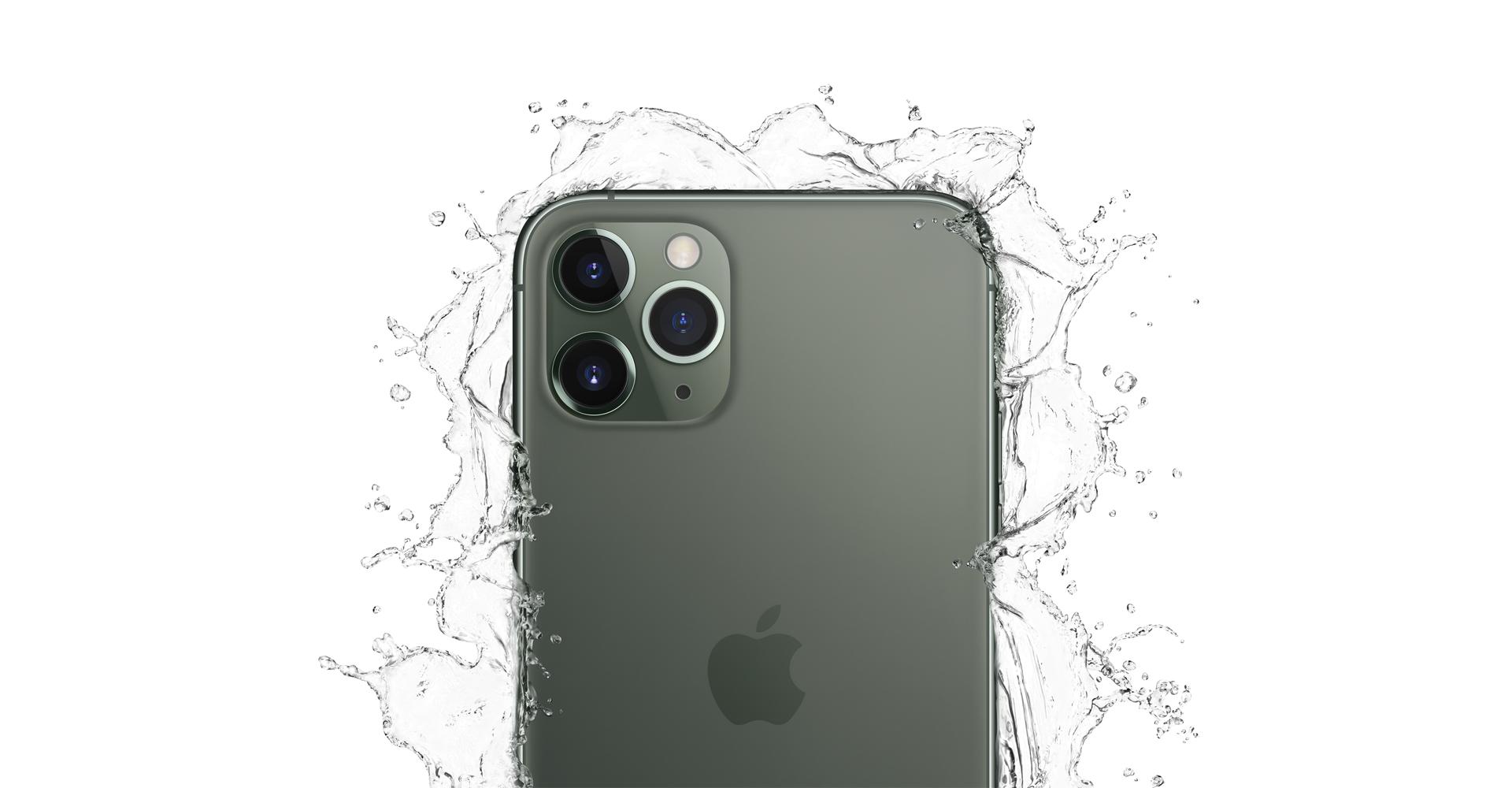 Das iPhone 11 Pro in Grün mit Wasserspritzern. Foto: Applet
