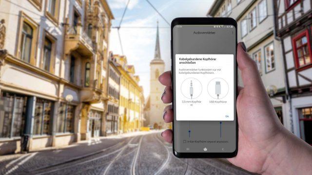 Den Android-Audioverstärker am Samsung Galaxy S9+ nutzen.