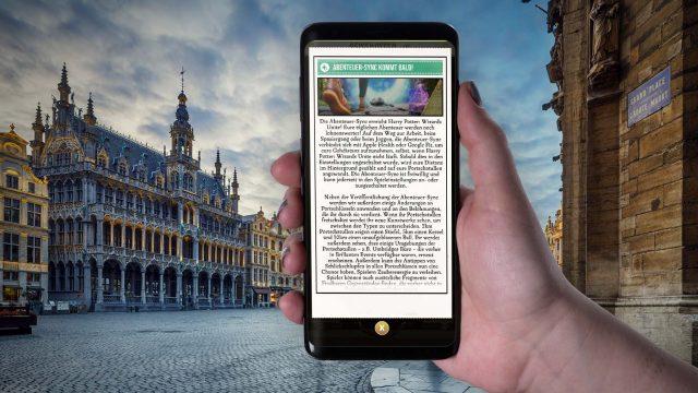 Die Ankündigung der Abenteuer-Sync in Wizards Unite am Samsung Galaxy S9+ durchlesen.