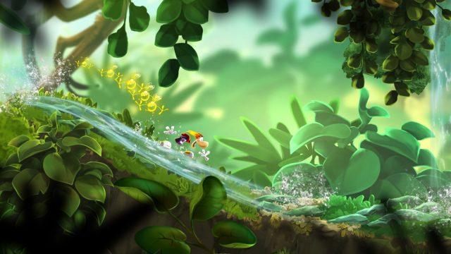 Rayman surft in Rayman Mini einen Bach entlang