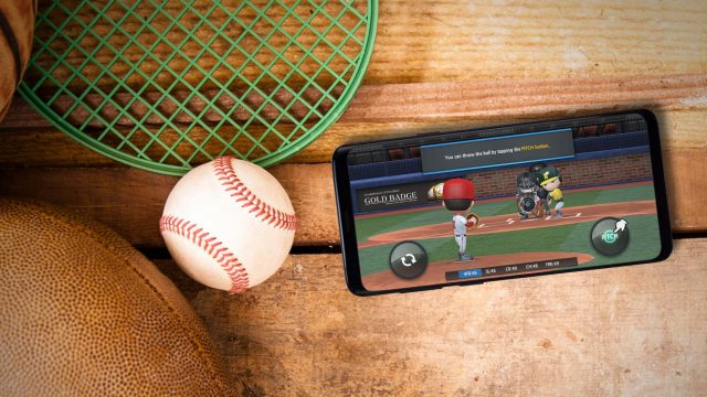 Das Sport-Game Baseball 9 am Samsung Galaxy S9+.