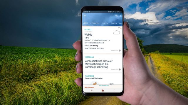 Die Wetter-App AccuWeather am Samsung Galaxy S9+.
