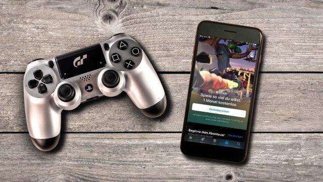 PS4-Controller liegt neben dem iPhone 8 Plus mit Apple Arcade.