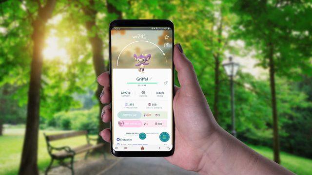 Am Samsung Galaxy S9+ in Pokémon Go Griffel entwickeln.