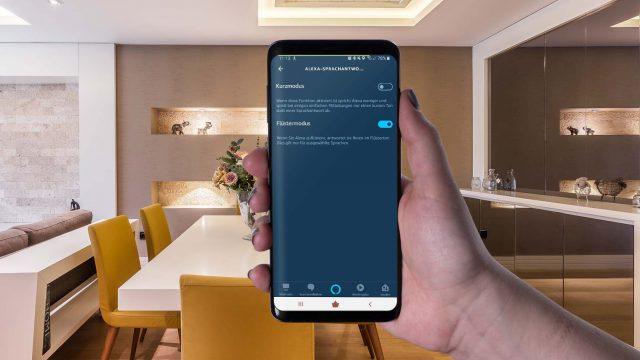 Den Alexa-Flüstermodus in der Alexa-App am Samsung Galaxy S9+ einschalten.