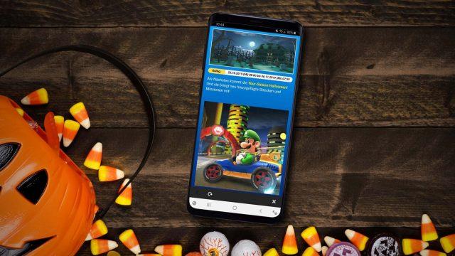 Infos zum Halloween-Event von Mario Kart Tour am Samsung Galaxy S9+ einsehen.