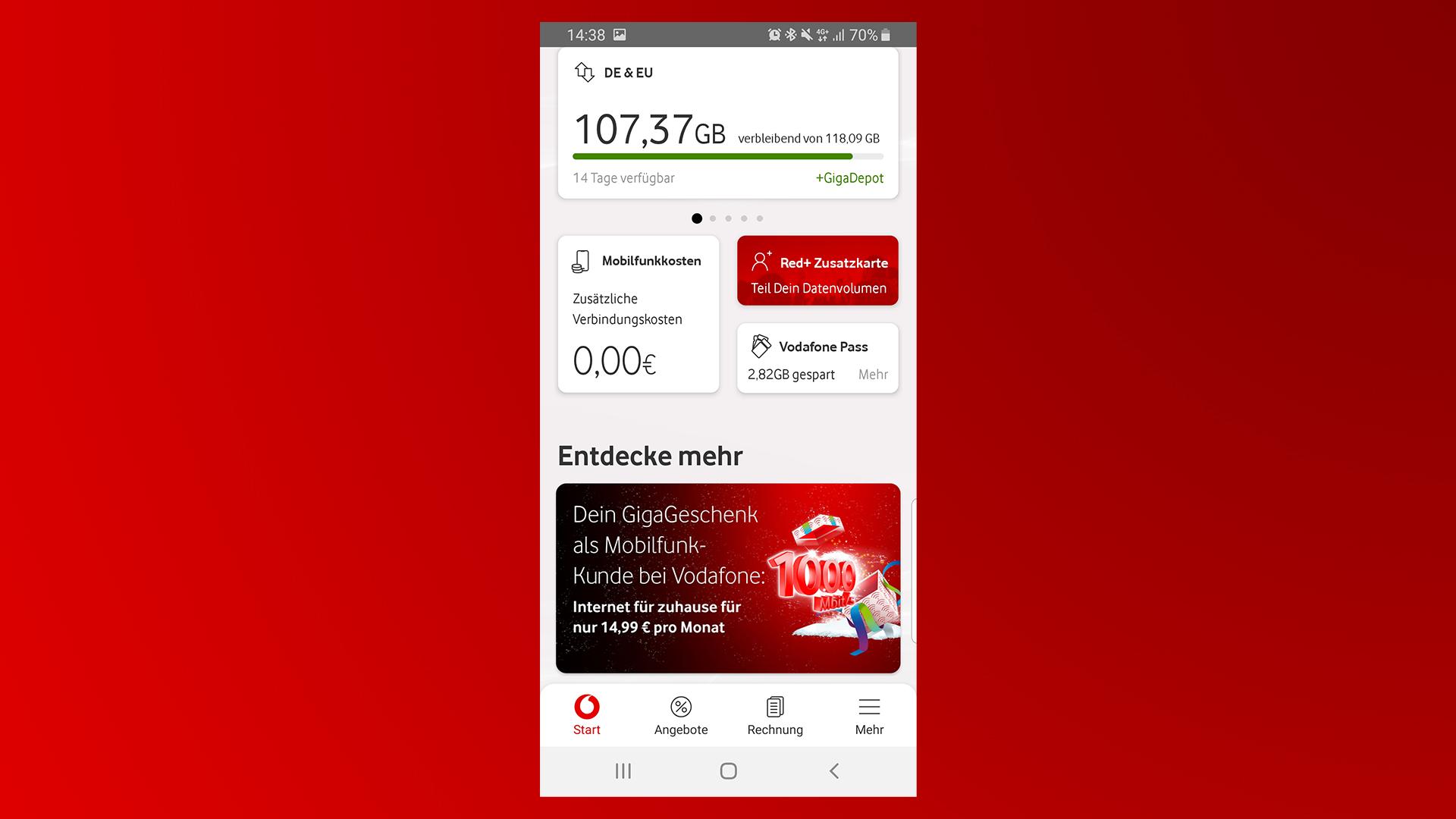 Das Startmenü der MeinVodafone-App.