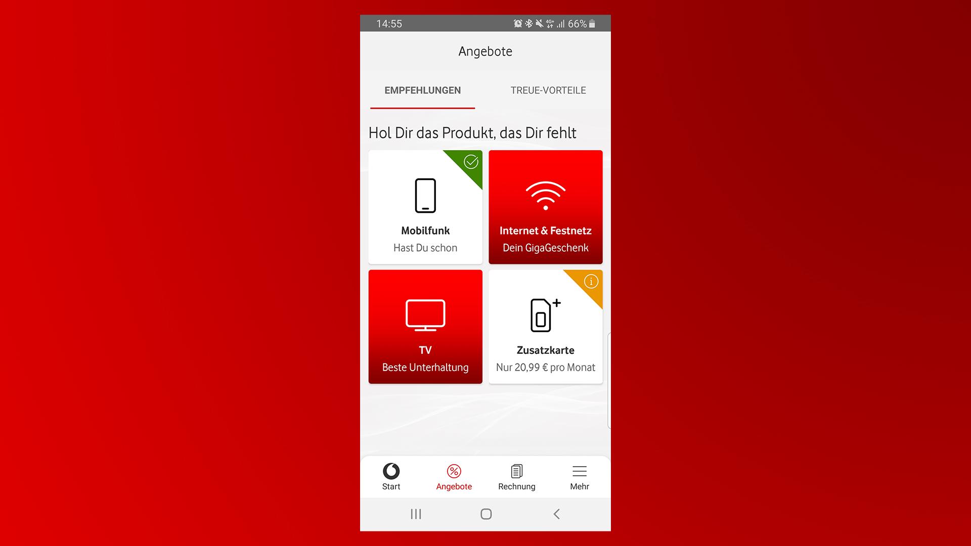 Der Login in der MeinVodafone-App.