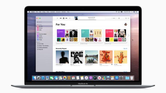 MacBook Air zeigt die Oberfläche der neuen Musik-App