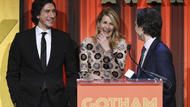"Adam Driver, Laura Dern und Noah Baumbach feiern den Sieg des Netflix-Films ""Marriage Story"" bei den Gotham Awards."
