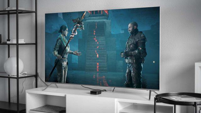 Szene aus Assassin's Creed auf einem Fernseher