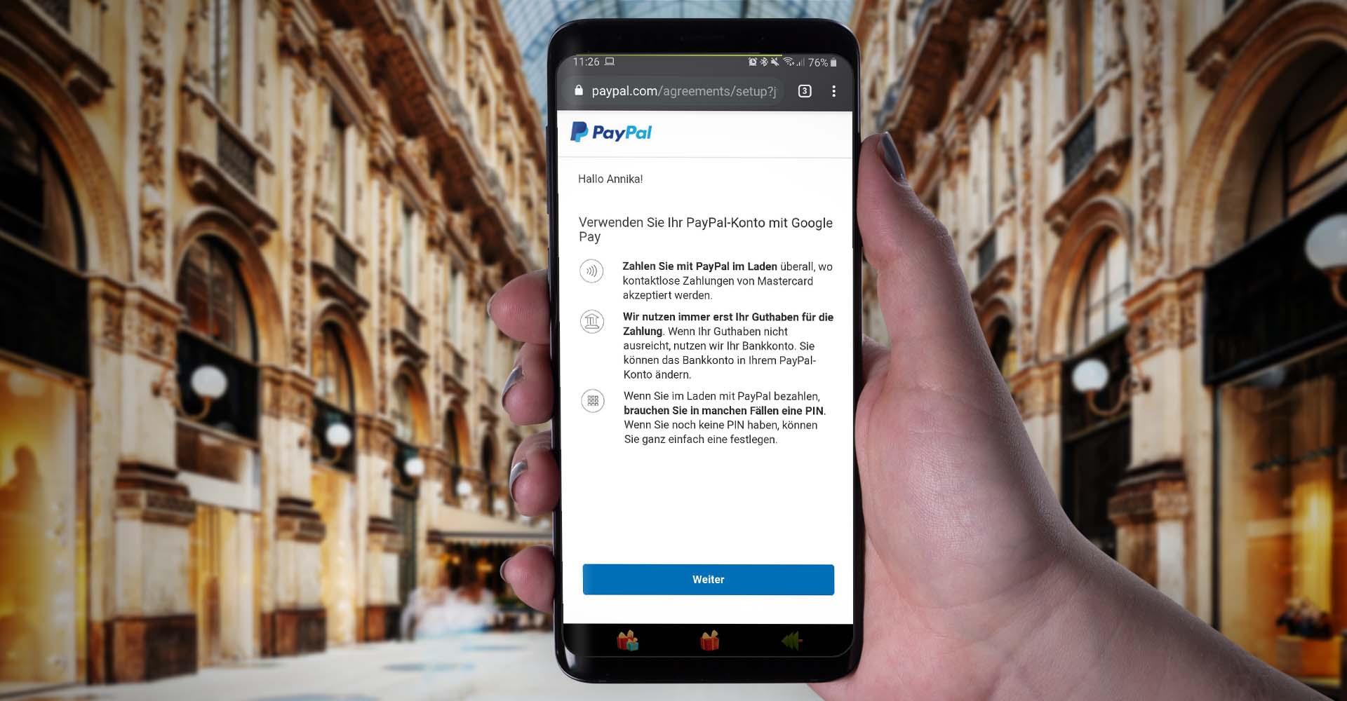 Am Samsung Galaxy S9+ PayPal mit Google Pay verknüpfen.