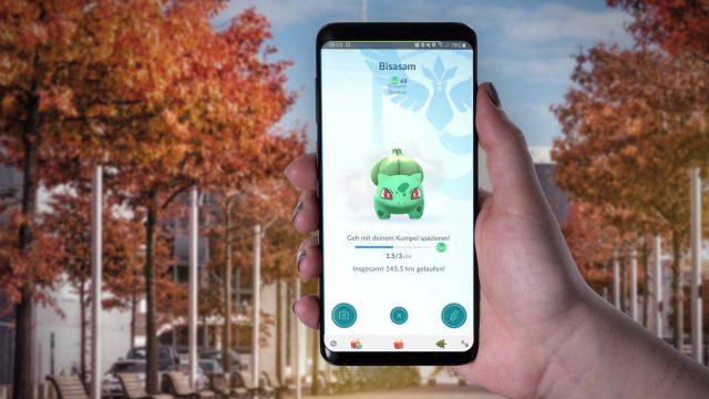 In Pokémon Go am Samsung Galaxy S9+ Deinen Kumpel einsehen.