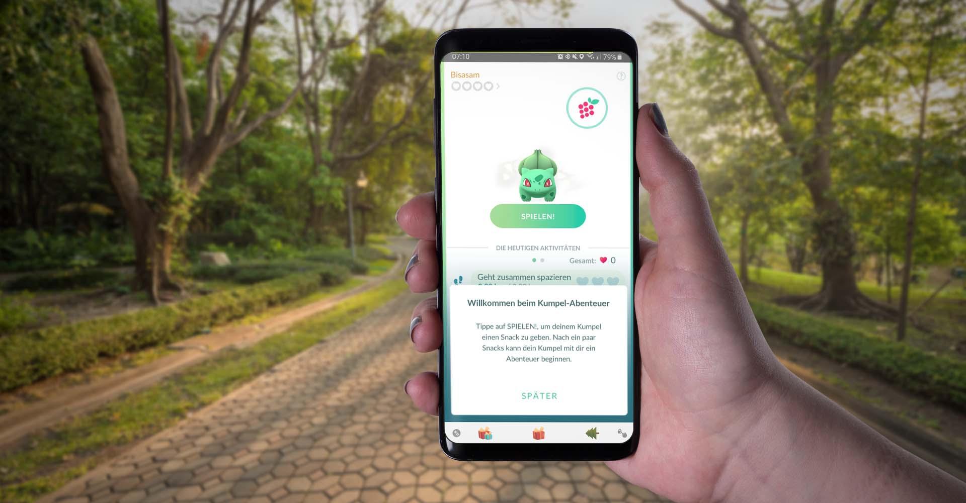 """In Pokémon Go am Samsung Galaxy S9+ das neue Feature """"Kumpel-Abenteuer"""" starten."""