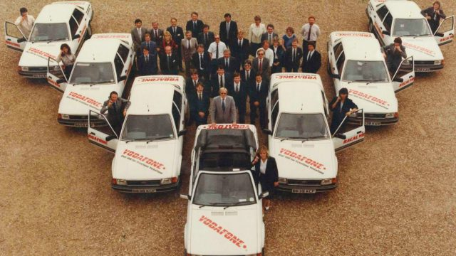 The Vodafone sales team ready to take to the road during the 1980s Vodafone Group Credit