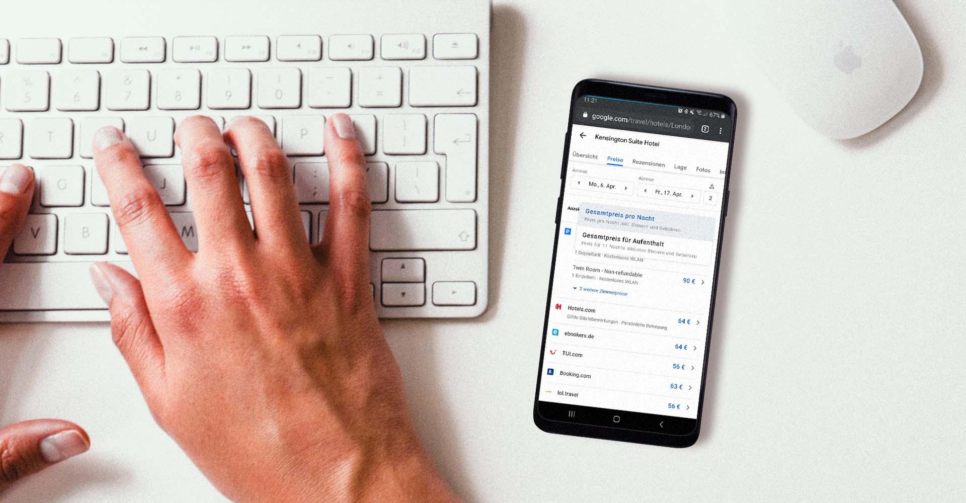 Am Samsung Galaxy S9+ mit Googles Travel-Tool nach einem Hotel suchen.