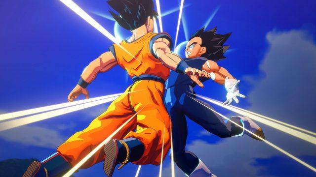 Zwei Kämpfer springen in Dragon Ball Z: Kakarot gegeneinader. Foto: Bandai