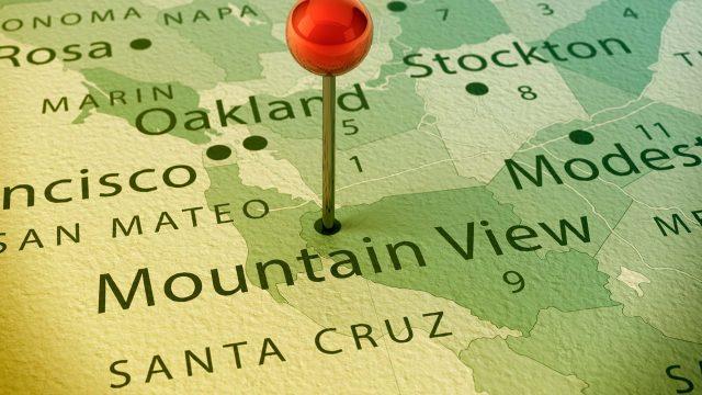 Ausschnitt Landkarte mit Nadel in Mountain View
