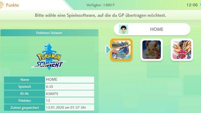 Screenshot von Pokémon Home.