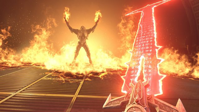 Dämon im Feuer in unserer Doom-Eternal-Spielekritik