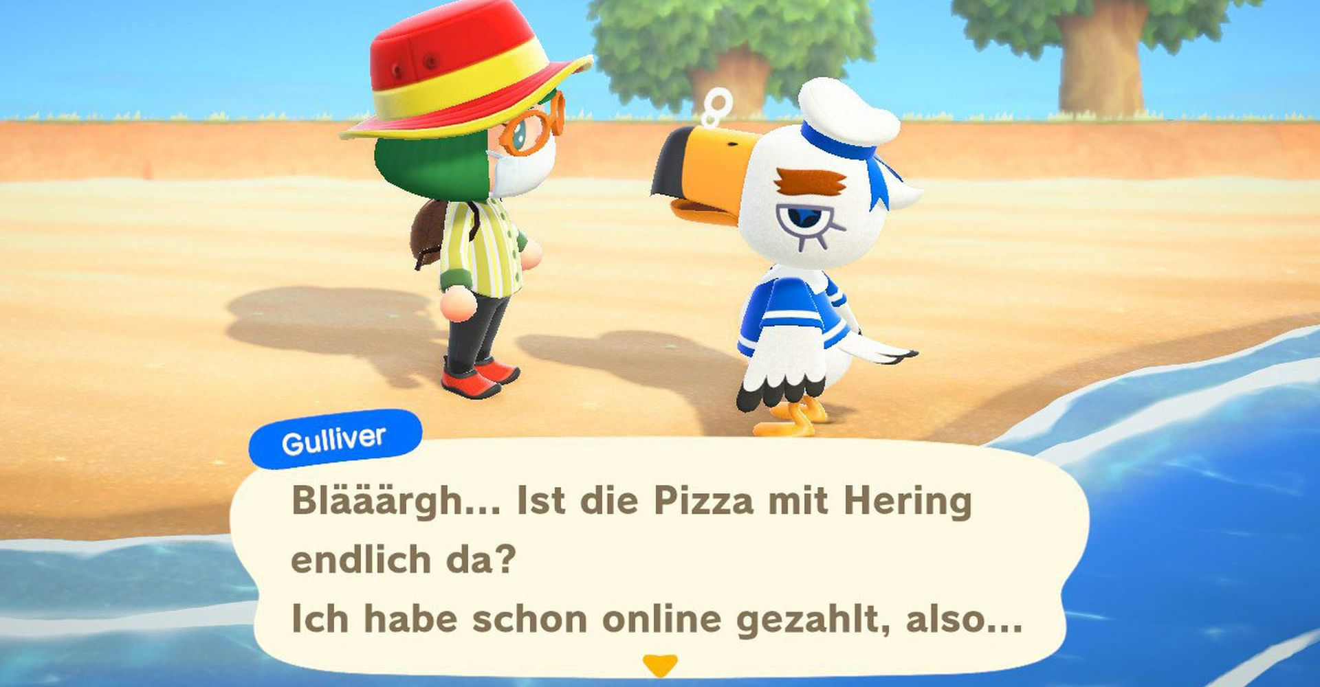 Gulliver in Animal Crossing: New Horizons treffen.