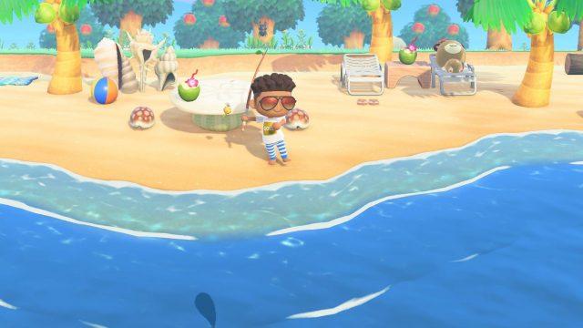 Fischen für neue Meilen in Animal Crossing: New Horizons.