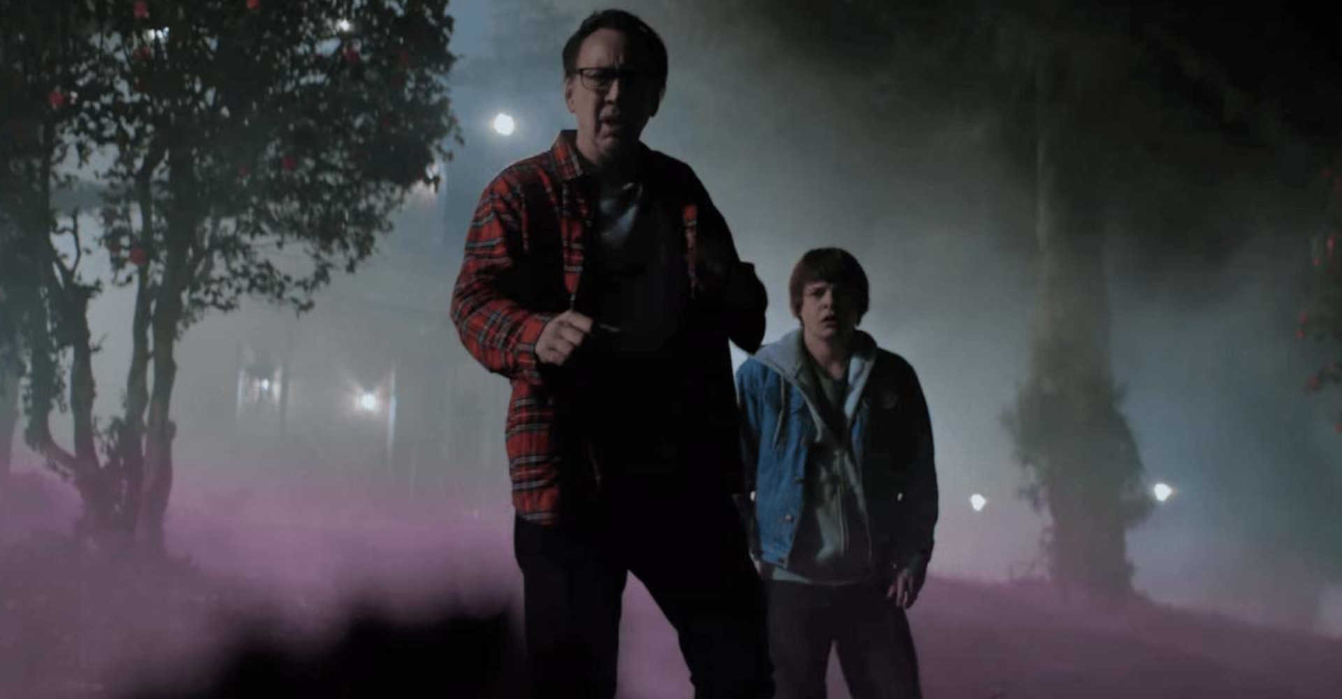 Brendan Meyer und Nicolas Cage in Color out of Space