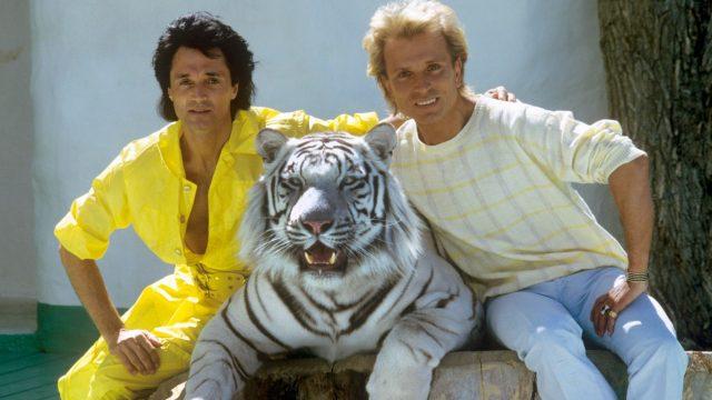 Roy und Siegfried mit weißem Tiger 1986