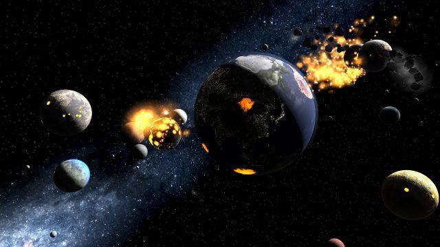 Eine virtuell simulierte Explosion der Erde in unserem Sonnensystem.