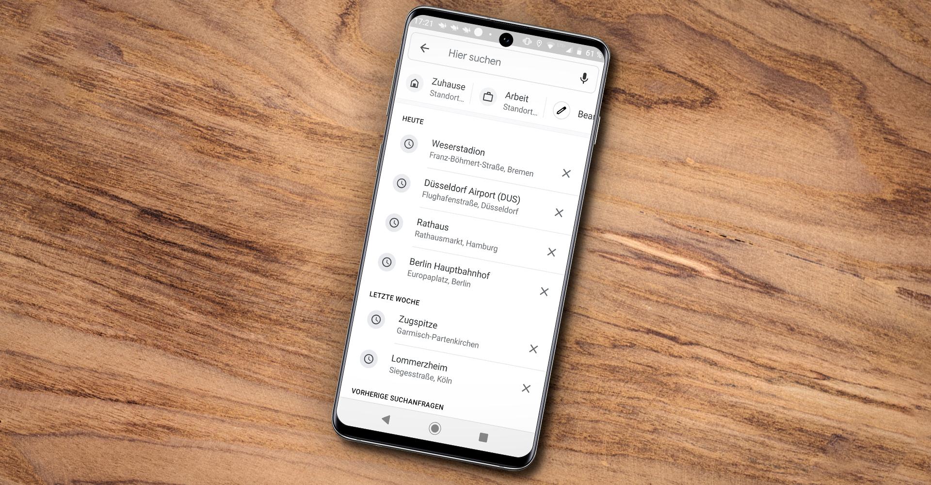 Suchleisten-Shortcuts für Zuhause und die Arbeit in Google Maps unter Android