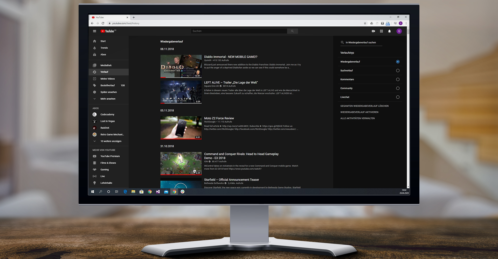 YouTube-Verlaufsansicht unter Windows 10 in Google Chrome als Screenshot auf Monitor
