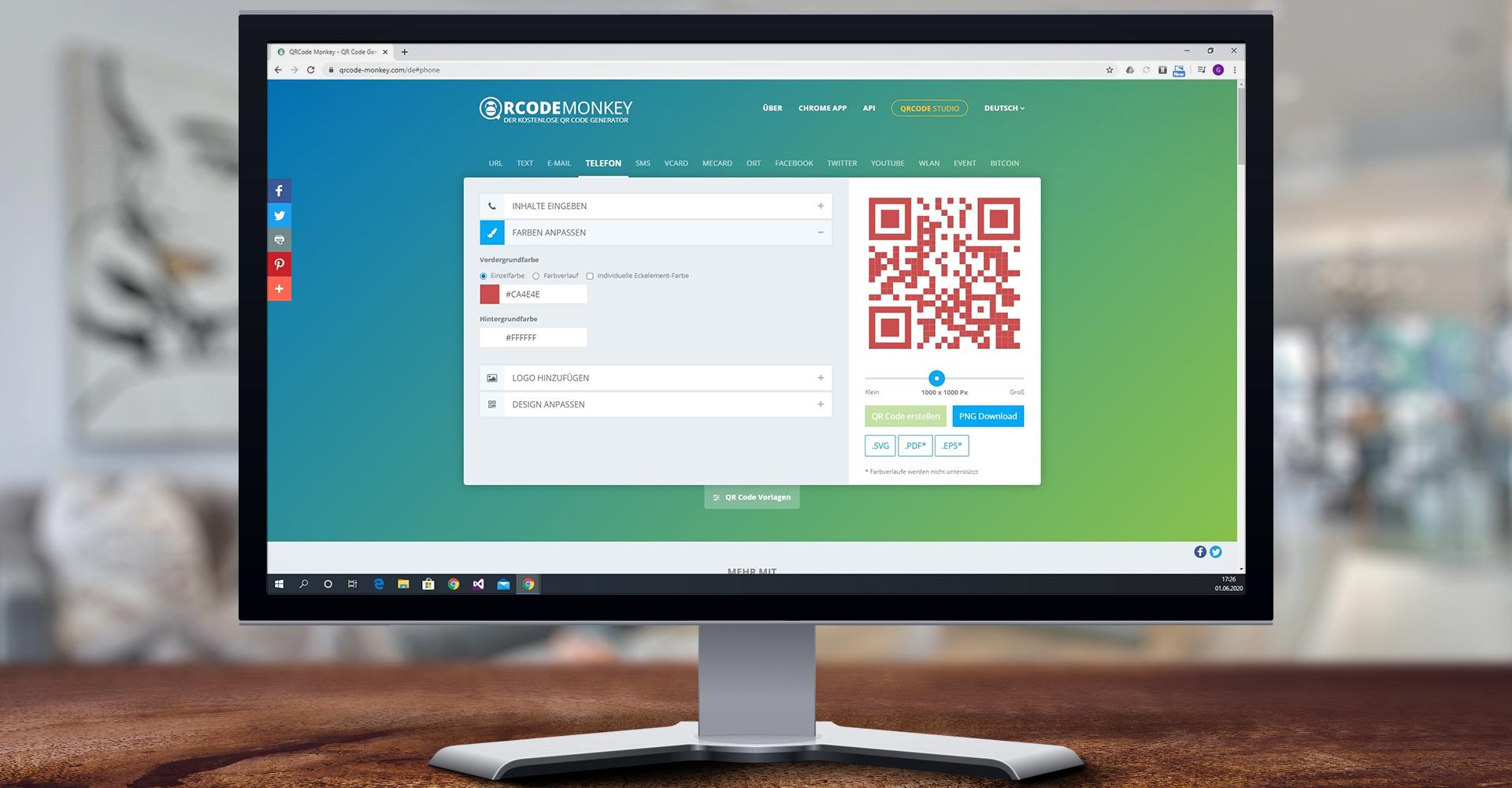 Die Webseite QRCodeMonkey im Google-Chrome-Browser auf dem Bildschirm eines Windows-10-PCs