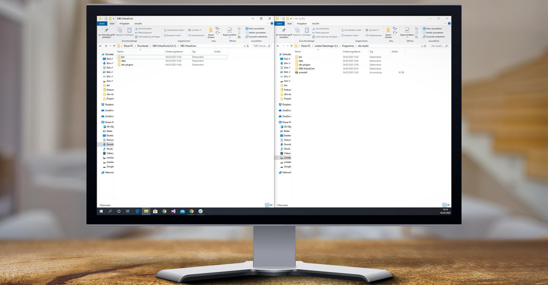 Die Ordnerstrukturen des Virtual-Camera-Plugins und von OBS Studio nebeneinander unter Windows 10