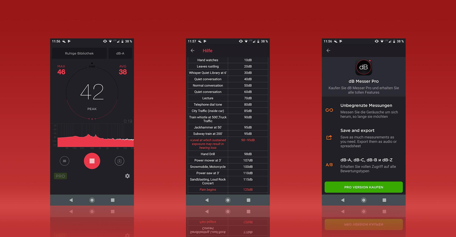 Screenshots aus der App dB Messer Pro zeigen die Mess-Ansicht, eine Liste zum Lautstärkenvergleich und die Extras der kostenpflichtigen Version.