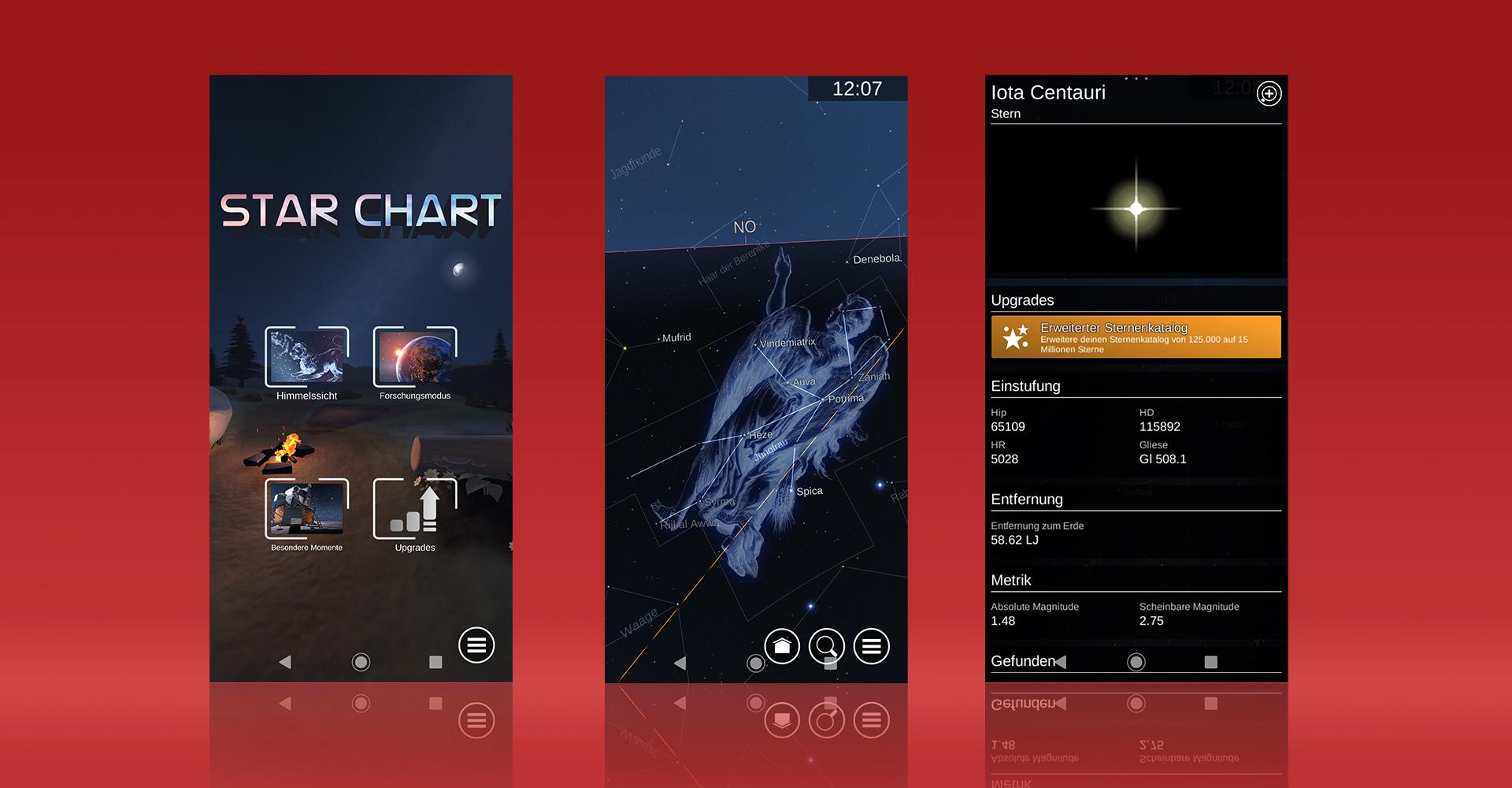 Screenshots aus der Android-App Sternatlas zeigen das Menü, die Funktionen und kostenpflichtige Extras