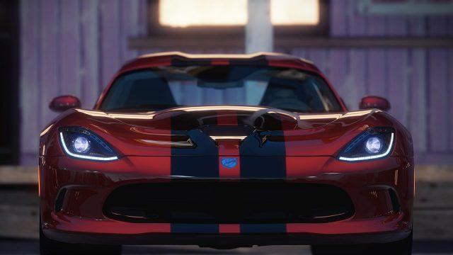 """Ein Game-Screenshot aus """"Forza Horizon"""", zu sehen ist ein roter Rennsport-Wagen frontal."""