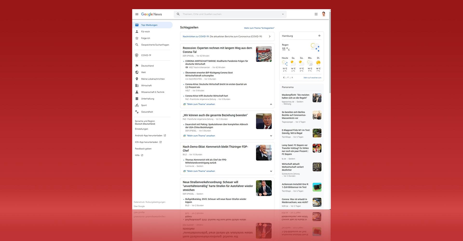 Google-News-Screenshot aus dem Browser