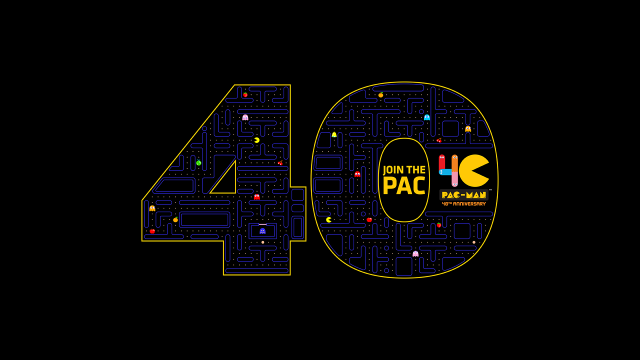"""Die Zahl """"40"""", gefüllt mit Inhalten aus dem Kultspiel """"Pac-Man"""" zum 40. Geburtstag des Spiels."""