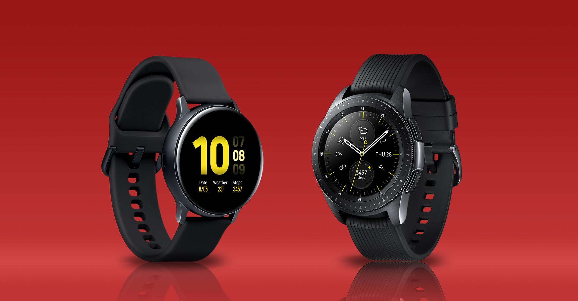 Gegenüberstellung der Galaxy Watch Active 2 und der Galaxy Watch.