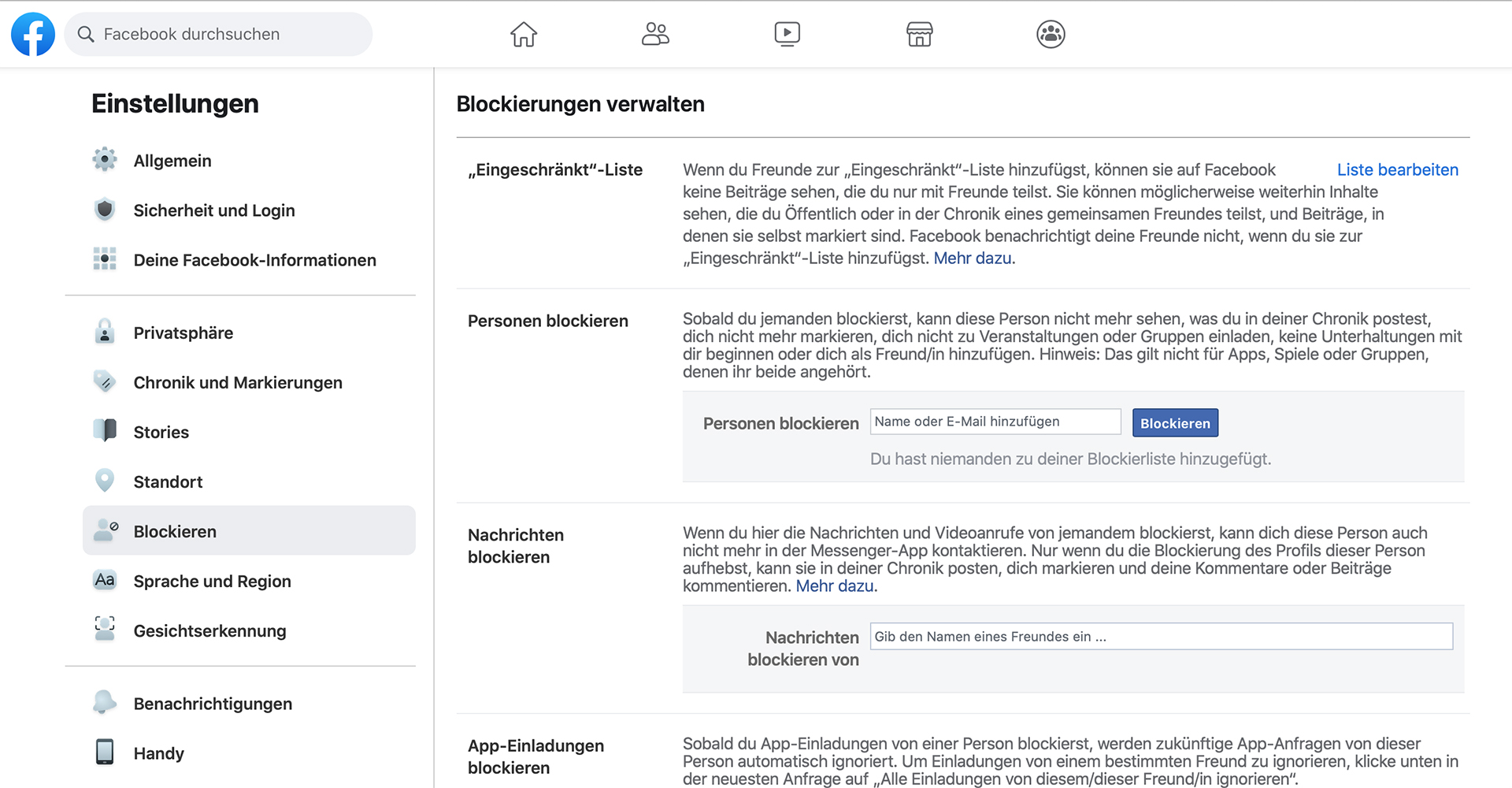 Person bei Facebook blockieren: in der Desktop-Version
