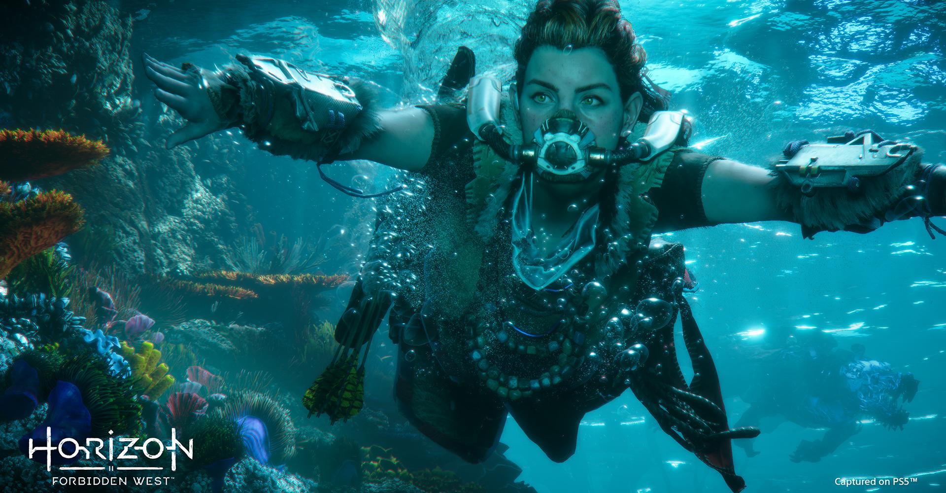Jägerin Aloy schwimmt in Horizon Forbidden West unter Wasser