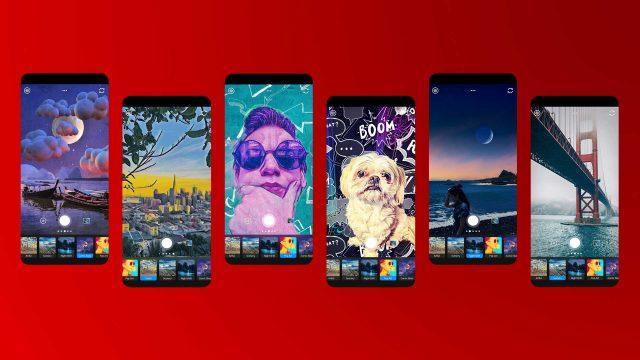 Screenshots der Adobe Photoshop Camera zeigen die verschiedenen Foto-Filter und -Effekte