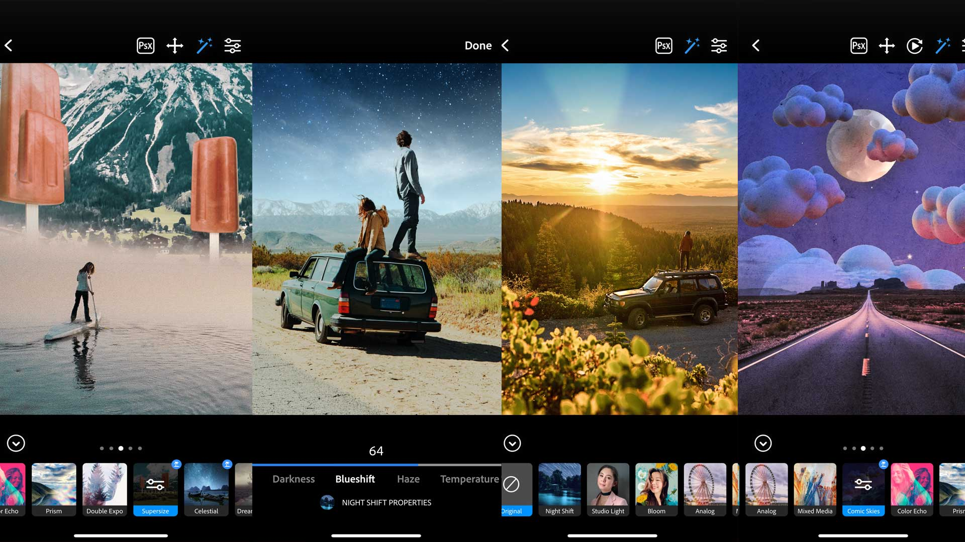 Screenshots der Adobe Photoshop Camera