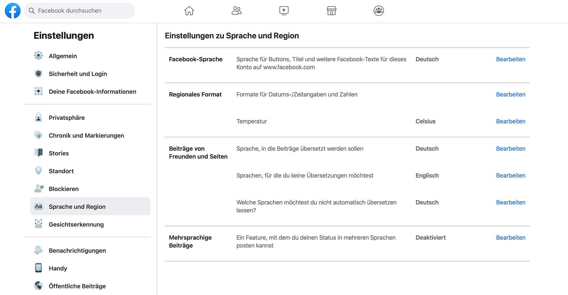 "Screenshot Facebook-Menü ""Sprache und Region"""