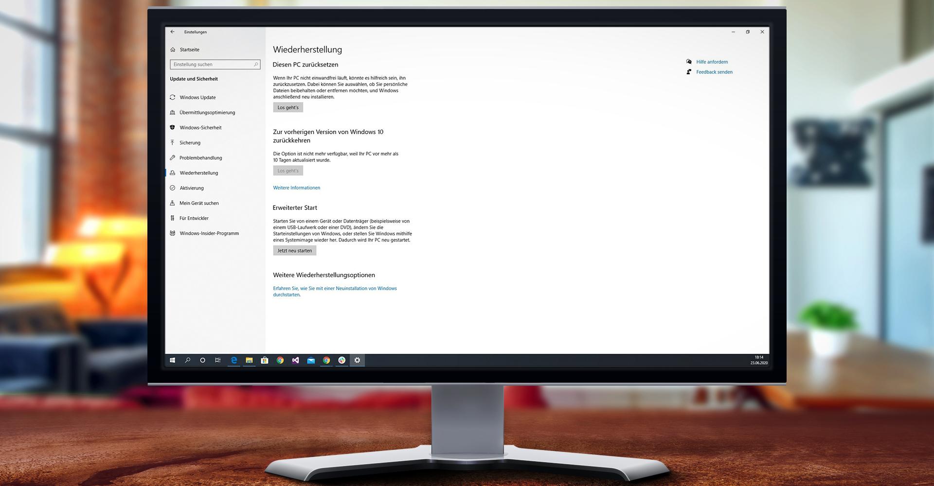 """Windows 10 Ansicht des Bereichs Wiederherstellung. Hier gut sichtbar: Die Option """"Diesen PC zurücksetzen"""""""