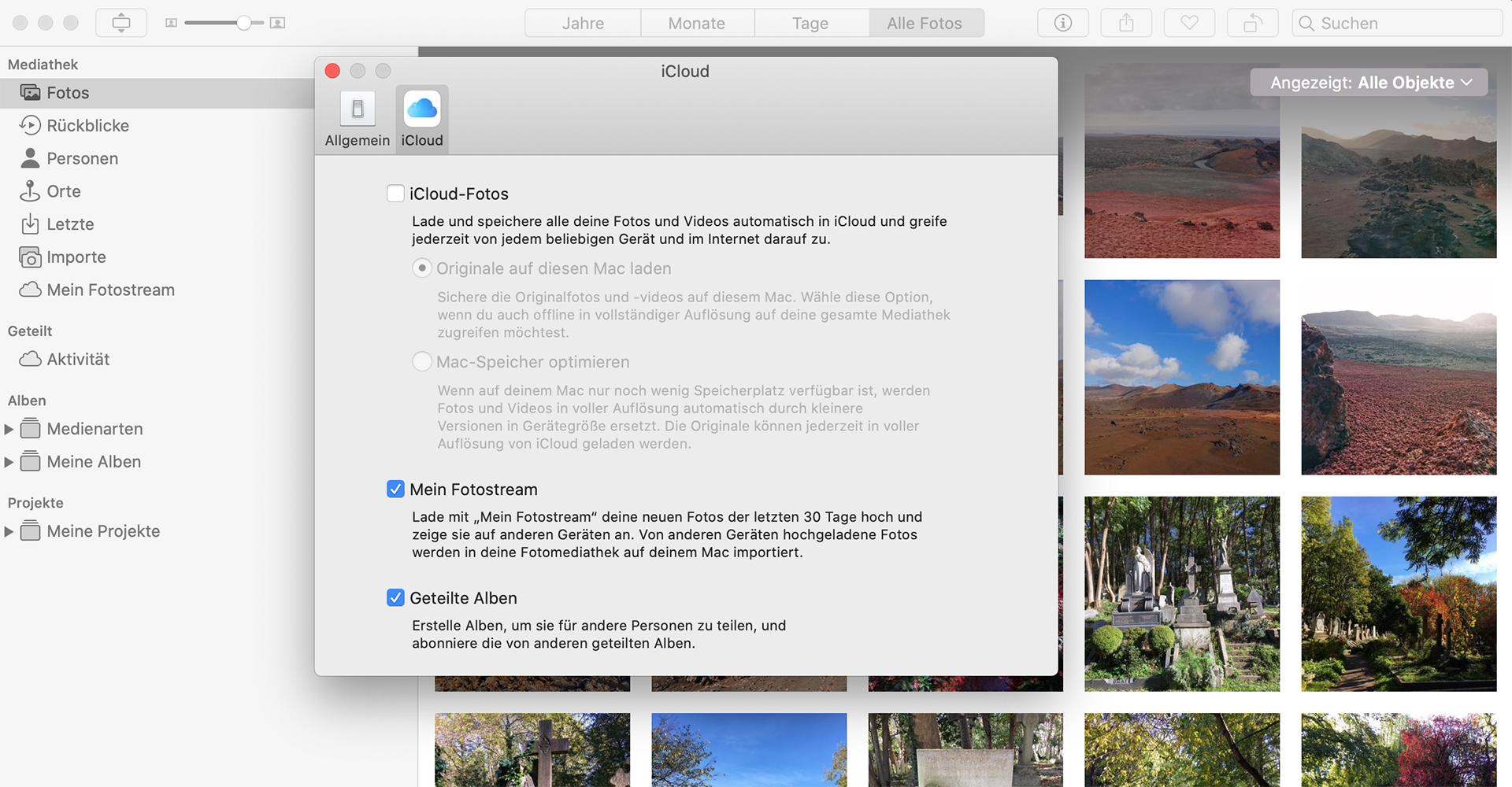 iCloud-Fotos mit der Fotos-App auf den Mac laden