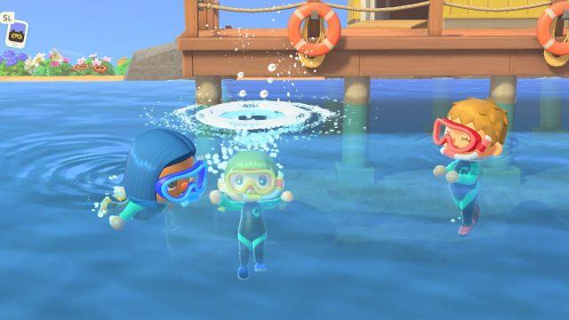 Tauchen in Animal Crossing: New Horizons