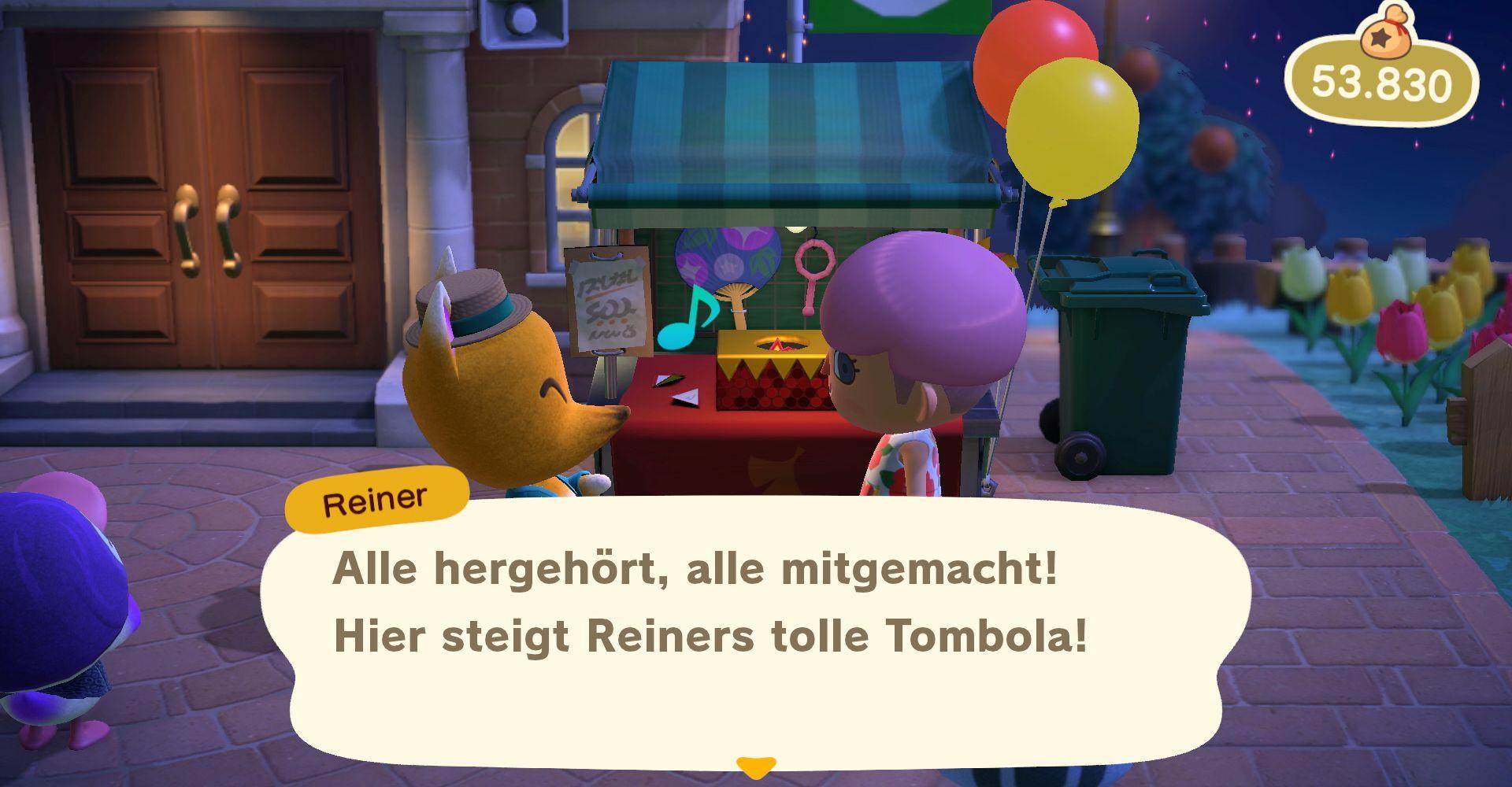 Reiner und seine Tombola in Animal Crossing: New Horizons.