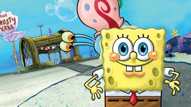 """Spongebob und Gary vor der krossen Krabbe in der Zeichentrickserie """"Spongebob Schwammkopf"""""""