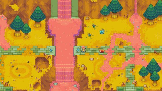 "Screenshot aus dem Spiel ""Alchemic Cutie"" in Retro-Optik."